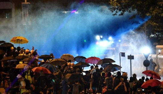 Tear gas, water cannon fired at Hong Kong demo
