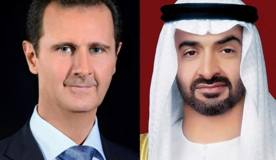 UAE's bin Zayed expresses support to Syria in phone call with Pres. Assad