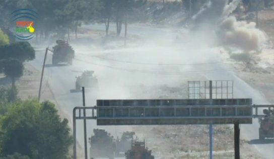 While a Russian-Turkish patrol was passing..  a guided missile targeted a Turkish military vehicle in Idlib countryside