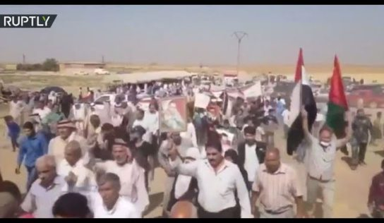 Large protest held in Qamishli against Turkish and US forces in Syria: video