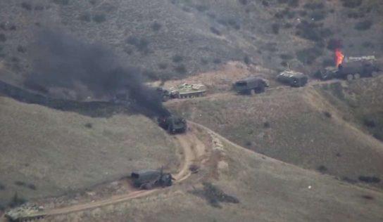 Watch: Armenian forces destroy Azerbaijani armored vehicle