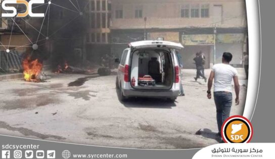 """Injured SDF gunmen in a car bomb explosion in the town of """"Al-Shaddadi"""" in Hasakah countryside."""