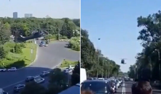 US Army Black Hawk helicopter makes emergency landing amid Bucharest street traffic in Romania (VIDEO)