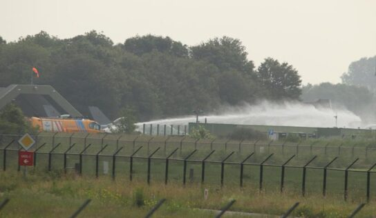 Two injured after Dutch F-16 fighter plane crashes into building, forcing pilot to eject (PHOTOS)