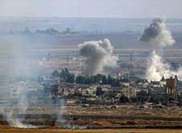 Turkish occupation shells vicinity of Tal Tamir, Ras al-Ayn, Hasaka countryside