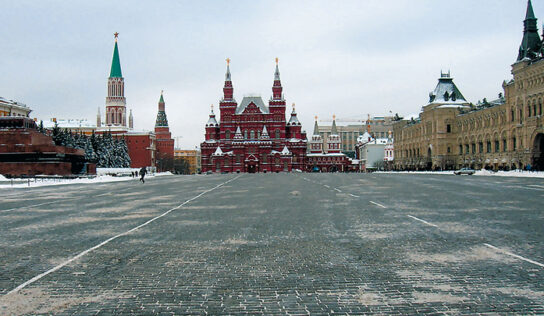 Red Square blocked after partial collapse of scaffolding from Kremlin wall